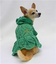 Hooded Green Cardigan Dog Dress