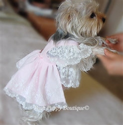 Couture Lace Dog Dress Pink