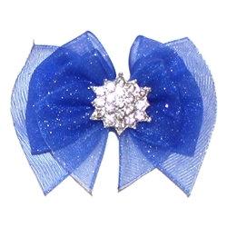Ooh La La Blue Organza Dog Hair Bow