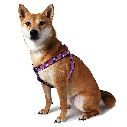 Lavender Check Step-In Dog Harness