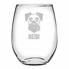 Schnauzer Stemless Wine Glass Set