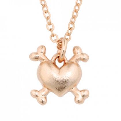 Heart Crossbones Dog Charm Necklace