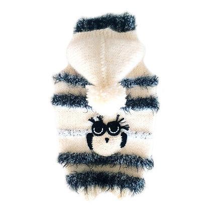 Tiny Owl Handknit Dog Sweater