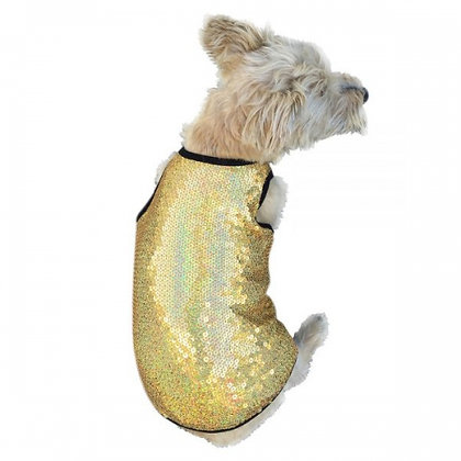Gold Stardust Sequined Dog Tank