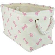 Paw & Bone Rectangle Dog Storage Bin Pink