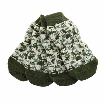 Non-Skid Dog Socks Green Camo