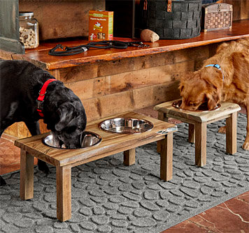 Natural Edge Raised Wooden Dog Feeder