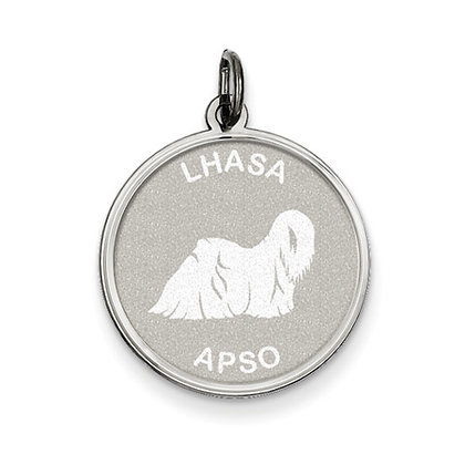 Sterling Silver Laser Etched Lhasa Apso Dog Pendant