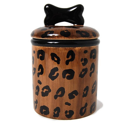 Leopard Ceramic Dog Treat Jar