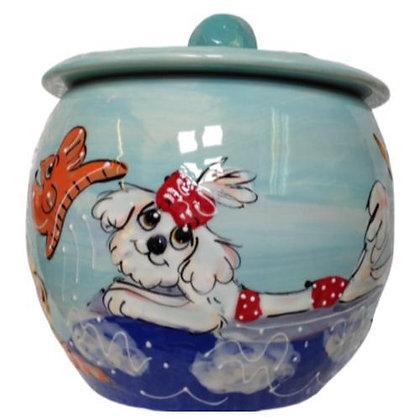Maltese Dog Treat Jar