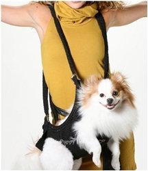 Puppoose Crochet Dog Sling Carrier Black