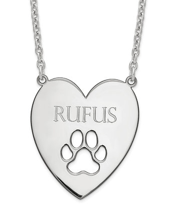 Personalized Dog Paw Print Heart Necklace