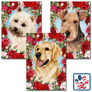 Hearts and Roses Dog Breed Flag