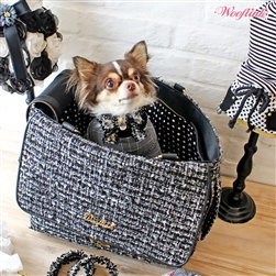 Tweed Dog Purse-Style Carrier Black