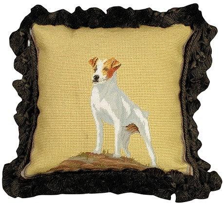 Jack Russell Decorative Needlepoint Pillow