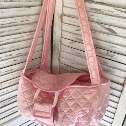 Brit Quilted Dog Carrier Pink Satin