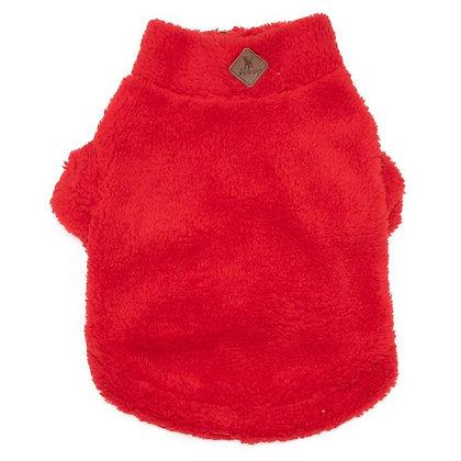 Red Sherpa Fleece Zip Dog Pullover