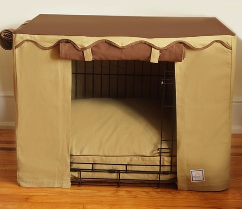 Camel Brown Dog Crate Cover