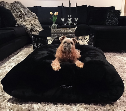 Black Panther Faux Fur Snuggle Dog Bed