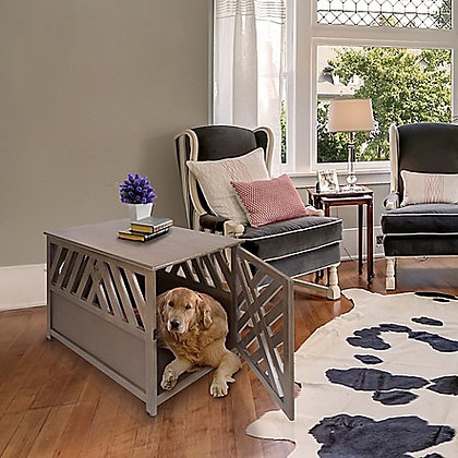 Chappy Modern Lattice Dog Crate/End Table Grey