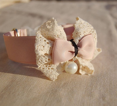 Couture Ivory Lace Bow Tie Dog Collar