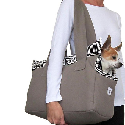 Cotton Canvas Dog Carrier Taupe