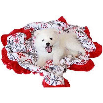 Luxurious Plush Dog Blanket Red Snowflake