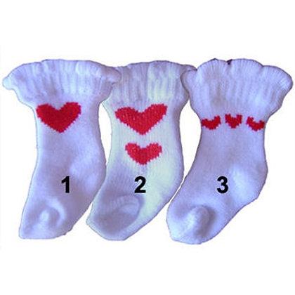 White Heart Dog Socks
