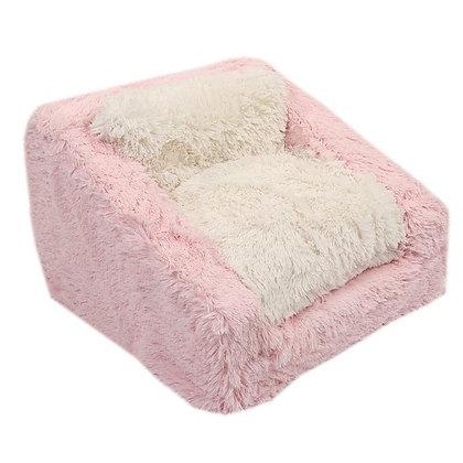 Light Pink Shag Dog Sofa Bed