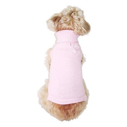 3D Flower Turtleneck Dog Sweater Pink