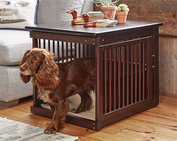 Wooden End-Table Dog Crate