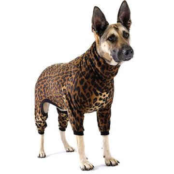 Stretch Fleece Onesie Dog Pajamas Leopard