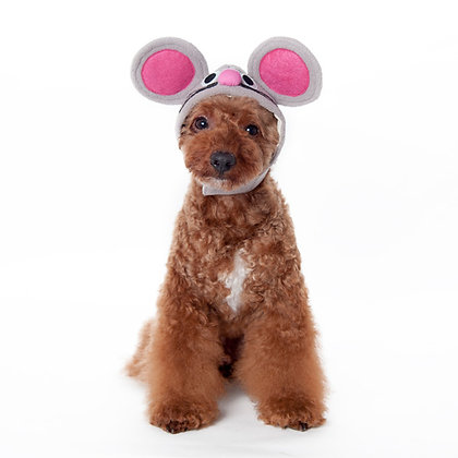 Mouse Dog Hat Pink and Gray