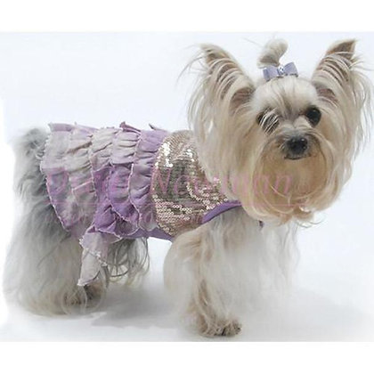 Bling It On Sequin Tank Dog Dress Lilac