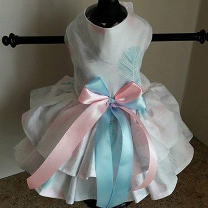 Pink And Blue Feathers Dog Dress