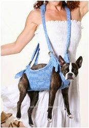 Puppoose Crochet Dog Sling Carrier Blue