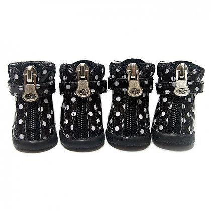 Polka Dot Dog Hiking Boots Black