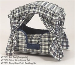Navy Blue Plaid Canopy Dog Bed