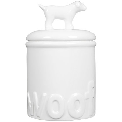 White Woof Dog Treat Jar