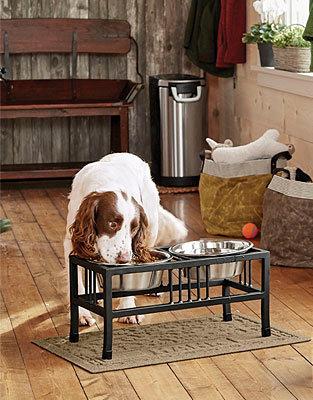 Mission-Style Wrought Iron Raised Dog Feeder
