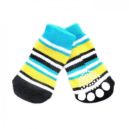 Classic Blue And Yellow Stripes Dog Socks