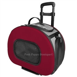 Tough-Shell Wheeled Collapsible Dog Carrier Red
