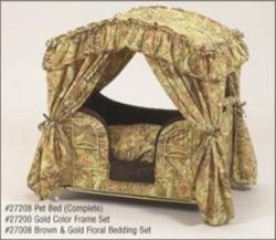 Brown & Gold Floral Canopy Pet Bed