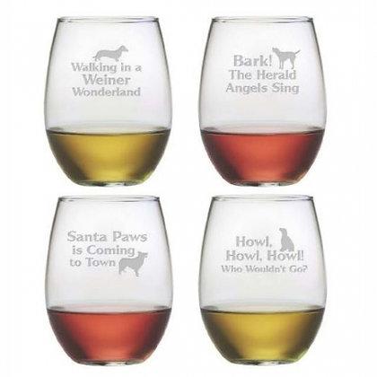 Canine Carols Stemless Wine Glasses