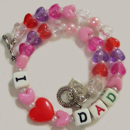 I Love Dad Beaded Dog Necklace