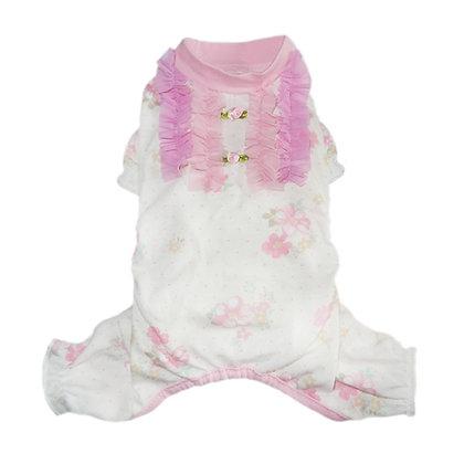 Genevieve Dog Pajamas with Pink Ruffles