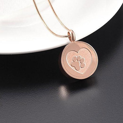 Paw Heart Rose Gold Memorial Necklace