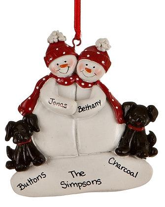 Snowman Couple With Black Dog Christmas Ornament