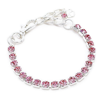 One Row Crystal Dog Necklace Pink