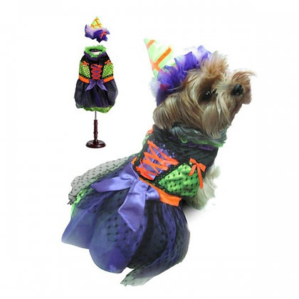 Halloween Neon Witch Dog Costume With LED